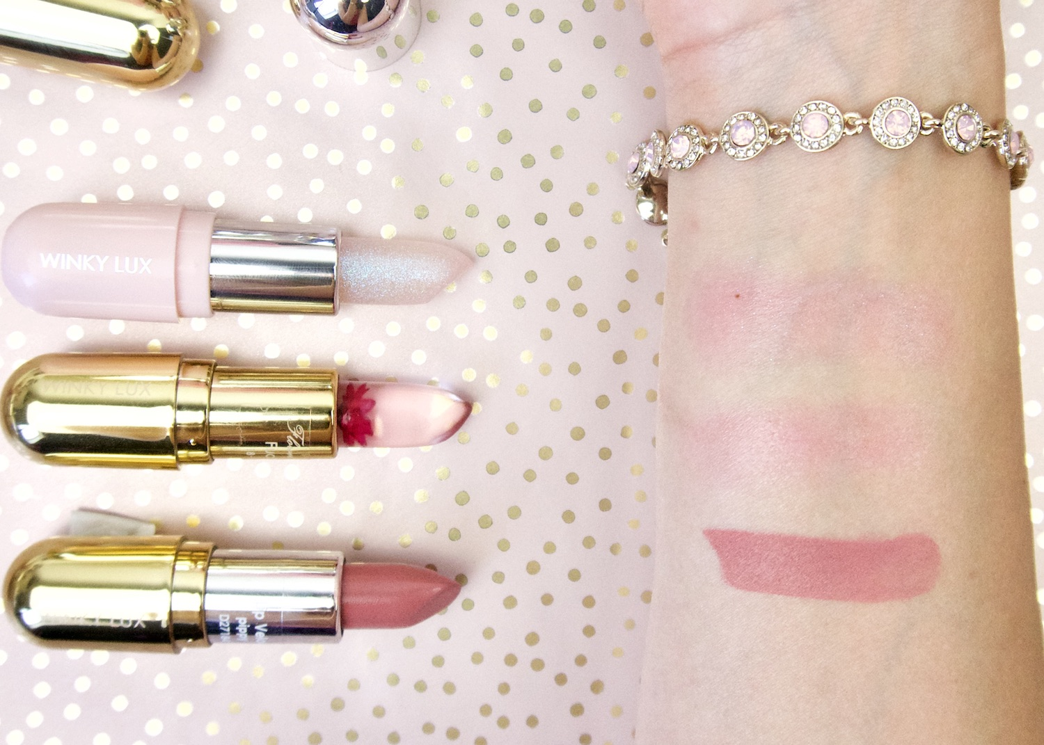 Winky Lux lip products swatches